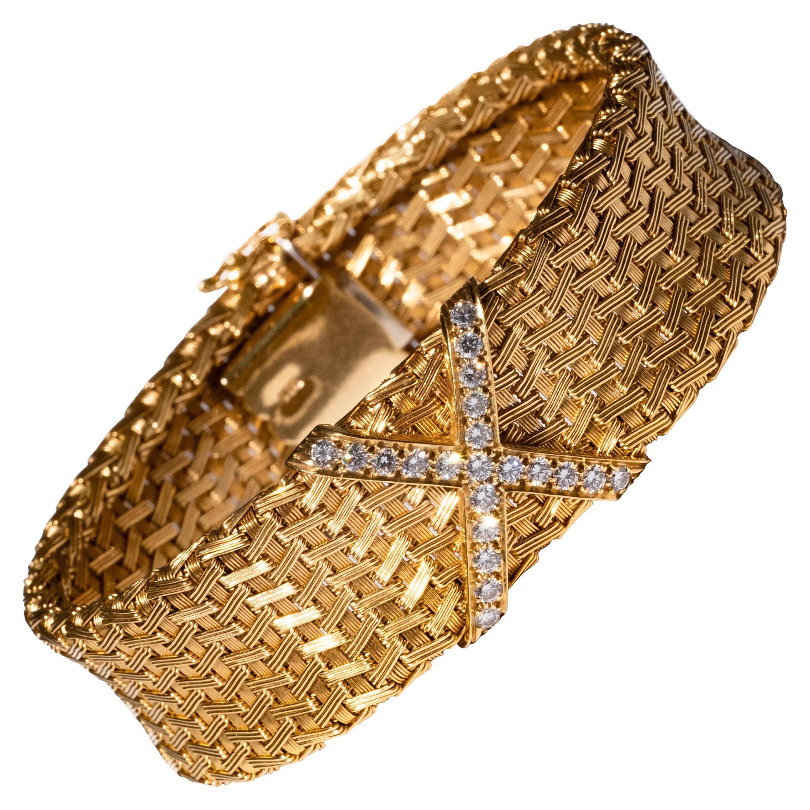 Tiffany & Co. 18K Gold and Diamond Criss Cross Bracelet