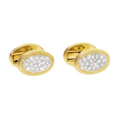 Tiffany & Co. 18K Gold and Platinum Men's Pave Diamond Oval Cufflinks 31 Grams