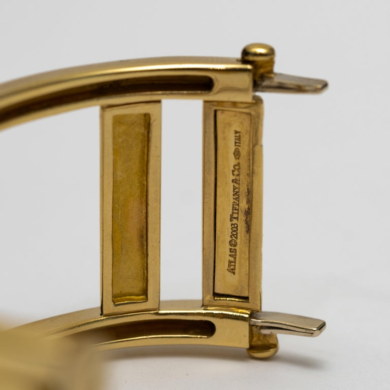 Tiffany & Co. 18k Gold Atlas Large Hinged Cuff Bracelet In Excellent Condition In Hudson, NY