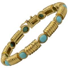 Tiffany & Co. 18 Karat Gold Persian Tourquoise Bangle Handmade