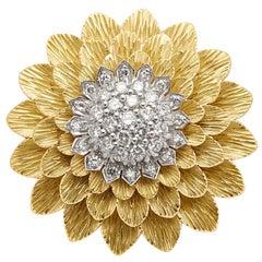 Tiffany & Co. 18k Gold & Platinum Diamond Sunflower Brooch