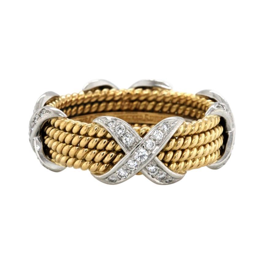 Tiffany & Co. 18K Gold Platinum Schlumberger Diamond Rope Four Row X Ring