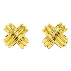 Tiffany & Co. 18k Gold X Earrings Large Size Schlumberger Pierced Clip On Omega
