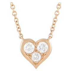 Tiffany & Co. 18k Rose Gold 0.17 Ct Three Diamond Heart Pendant Necklace