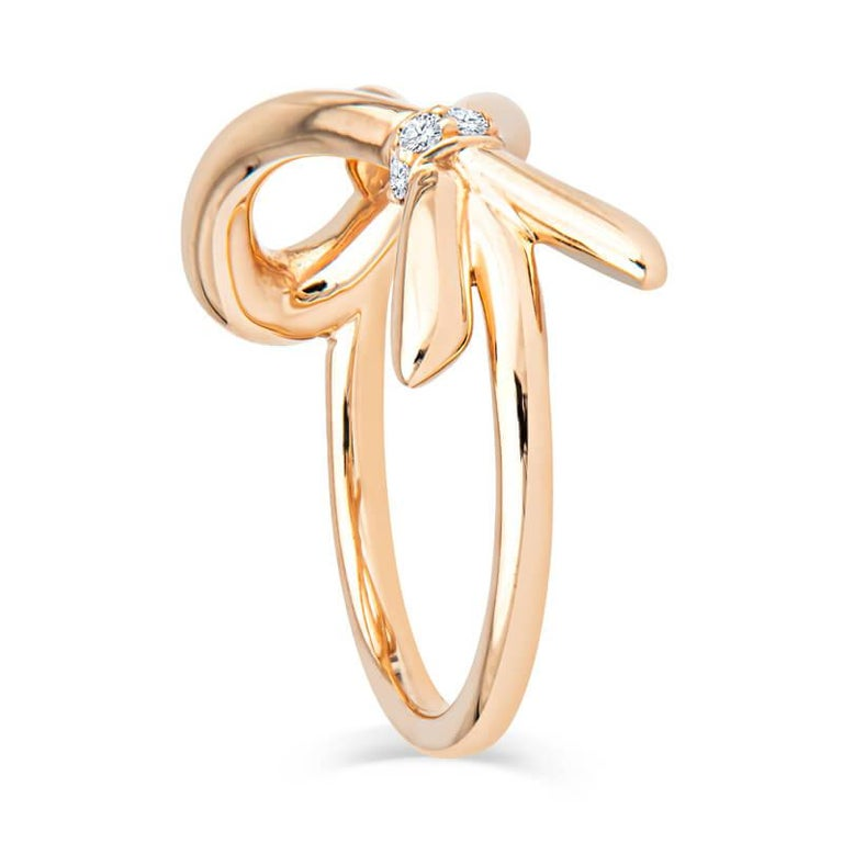 Round Cut Tiffany & Co. 18K Rose Gold .05ctw Diamond Bow Ring For Sale