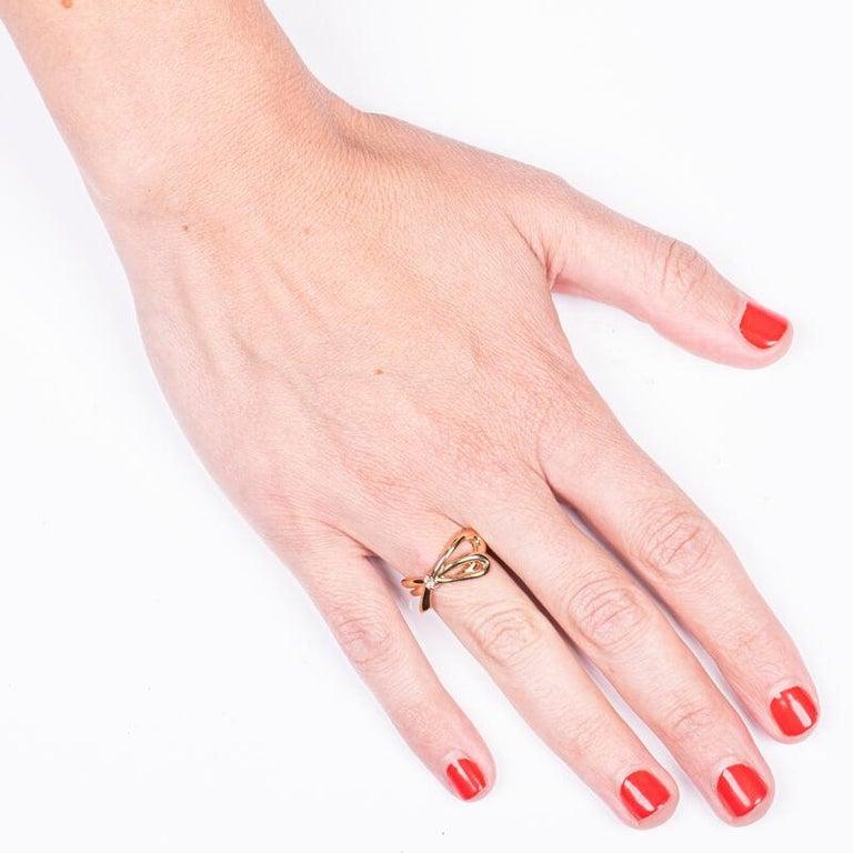 Women's or Men's Tiffany & Co. 18K Rose Gold .05ctw Diamond Bow Ring For Sale