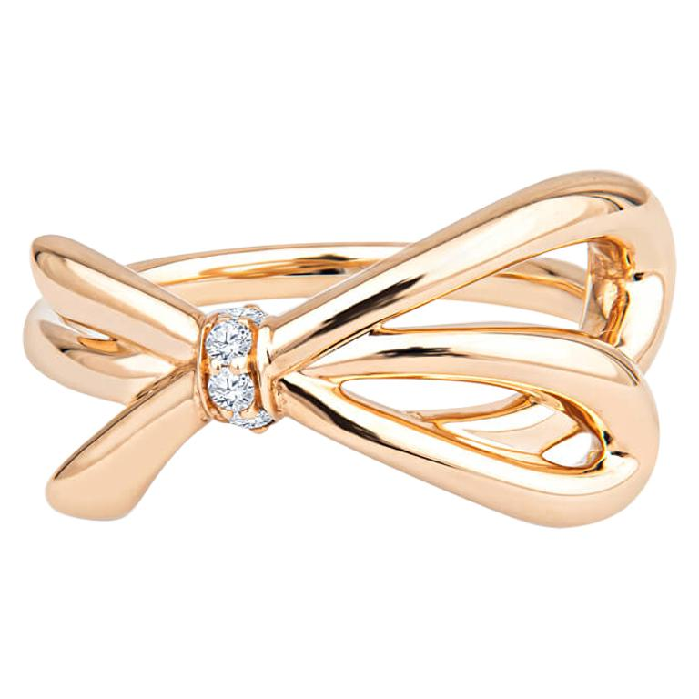 Tiffany & Co. 18K Rose Gold .05ctw Diamond Bow Ring For Sale