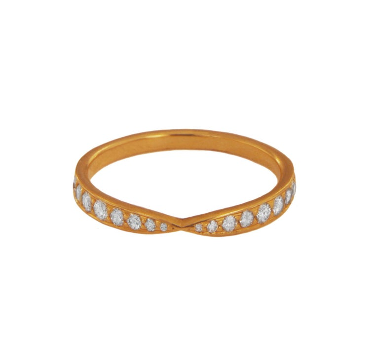 Round Cut Tiffany & Co. 18k Rose Gold Harmony Ring with Diamonds For Sale