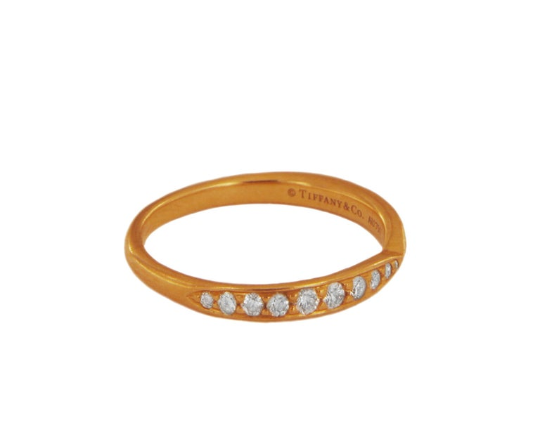Tiffany & Co. 18k Rose Gold Harmony Ring with Diamonds In Excellent Condition For Sale In New York, NY
