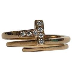 Tiffany & Co 18k Rose Gold T Square Diamond Wrap Ring sz 7.5