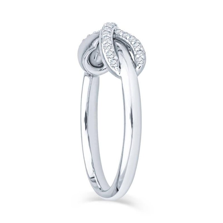 Tiffany & Co. 18K White Gold .13ctw Diamond Infinity Ring In New Condition For Sale In Houston, TX