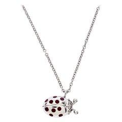 Tiffany & Co. 18K White Gold and Diamond Set Ladybug Pedant Chain Necklace
