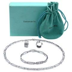 Tiffany & Co. 18k White Gold Atlas Diamond Set of Necklace Bracelet and Earrings