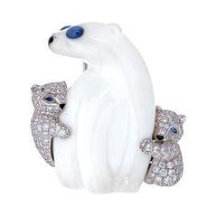 Tiffany & Co. 18k White Gold Chalcedony Polar Bear Brooch
