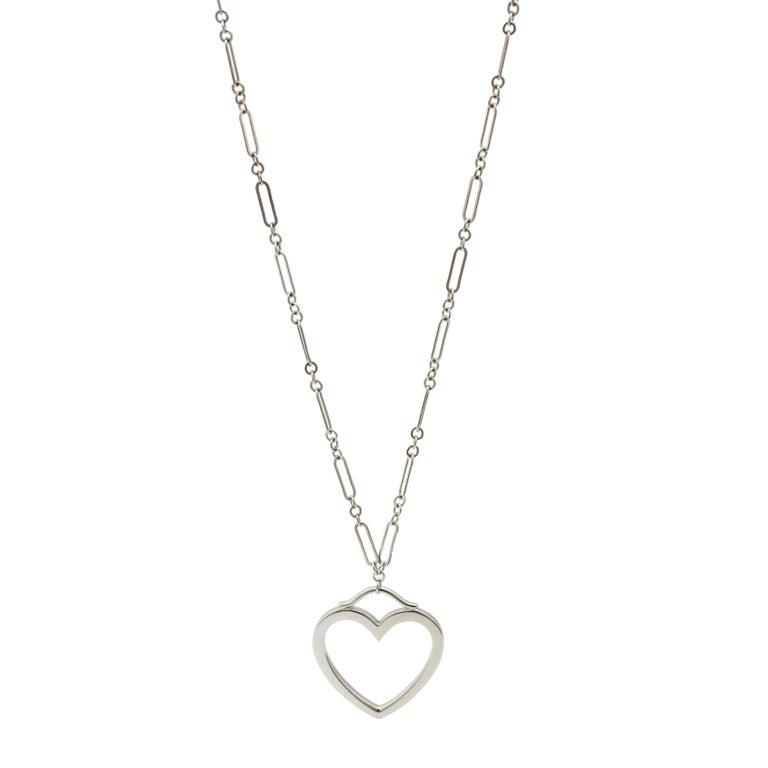 Modern Tiffany & Co. 18 Karat White Gold Heart Pendant Necklace For Sale