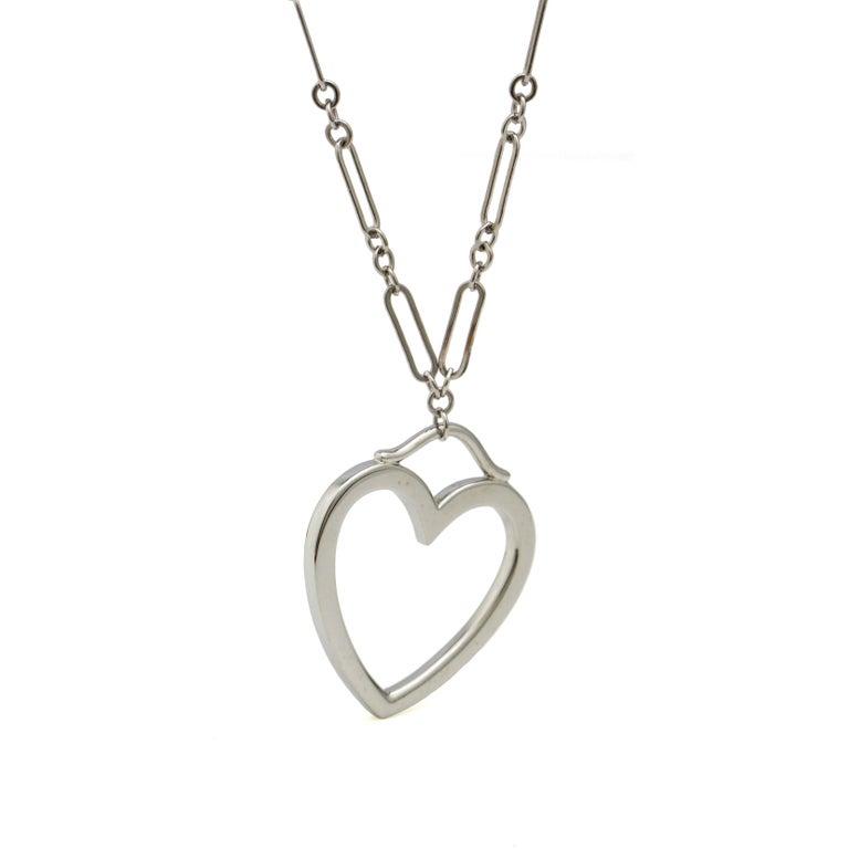 Women's Tiffany & Co. 18 Karat White Gold Heart Pendant Necklace For Sale