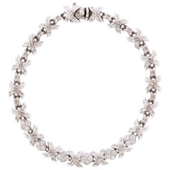 "Tiffany & Co. 18 Karat White Gold Signature ""X"" Diamond Bracelet"