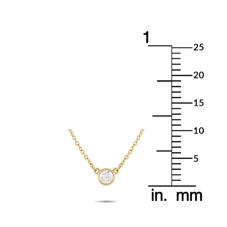 Tiffany & Co. 18 Karat Yellow Gold 0.20 Carat Solitaire Diamond Pendant Necklace In Excellent Condition For Sale In Southampton, PA
