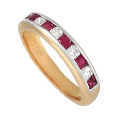 Tiffany & Co. 18K Yellow Gold 0.25 Ct Diamond and 0.50 Ct Ruby Band Ring