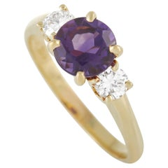 Tiffany & Co. 18K Yellow Gold 0.25 Ct Diamond and Amethyst Ring