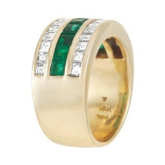 Tiffany & Co. 18K Yellow Gold 1.00 Ct Diamond and Emerald Band Ring