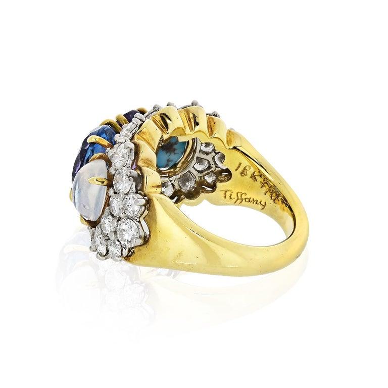 Modern Tiffany & Co. 18k Yellow Gold Amethyst Moonstone Topaz Turquoise Diamond Ring