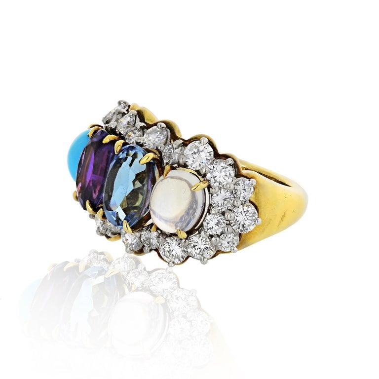 Oval Cut Tiffany & Co. 18k Yellow Gold Amethyst Moonstone Topaz Turquoise Diamond Ring