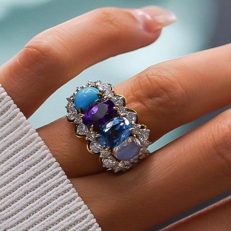 Tiffany & Co. 18k Yellow Gold Amethyst Moonstone Topaz Turquoise Diamond Ring In Excellent Condition In New York, NY