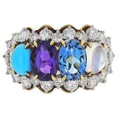Tiffany & Co. 18k Yellow Gold Amethyst Moonstone Topaz Turquoise Diamond Ring