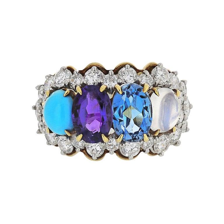 Tiffany & Co. 18k Yellow Gold Amethyst Moonstone Topaz Turquoise Diamond Ring