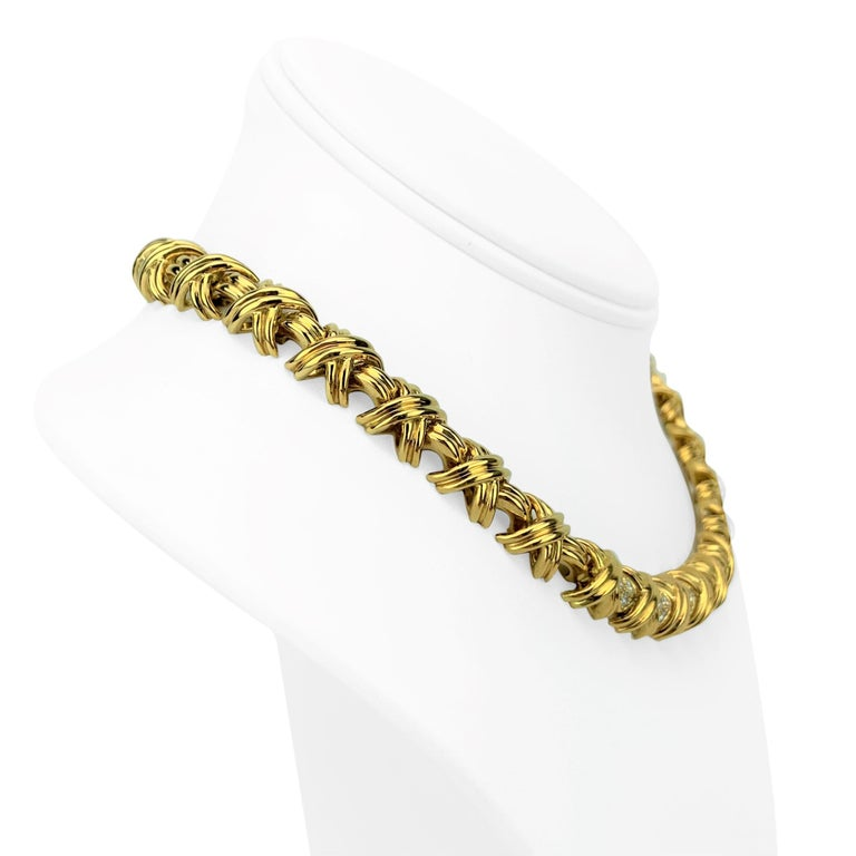 Tiffany & Co. 18k Yellow Gold and Diamond X Link Collar Necklace  Condition:  Excellent (Professionally Cleaned and Polished) Metal:  18k Gold (Marked, and Professionally Tested) Weight:  99.6g Length:  16 Inches Width:  11mm  Diamonds:  32 Round