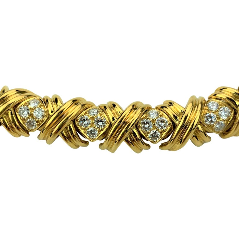 Brilliant Cut Tiffany & Co. 18 Karat Yellow Gold and Diamond X Link Collar Necklace For Sale