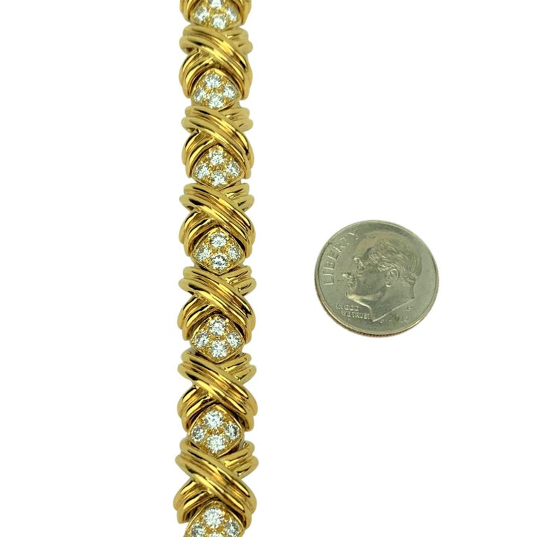 Tiffany & Co. 18 Karat Yellow Gold and Diamond X Link Collar Necklace In Good Condition For Sale In Brandford, CT