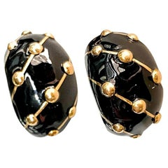 Tiffany & Co. 18k Yellow Gold Black Enamel Banana Jean Schlumberger Earrings
