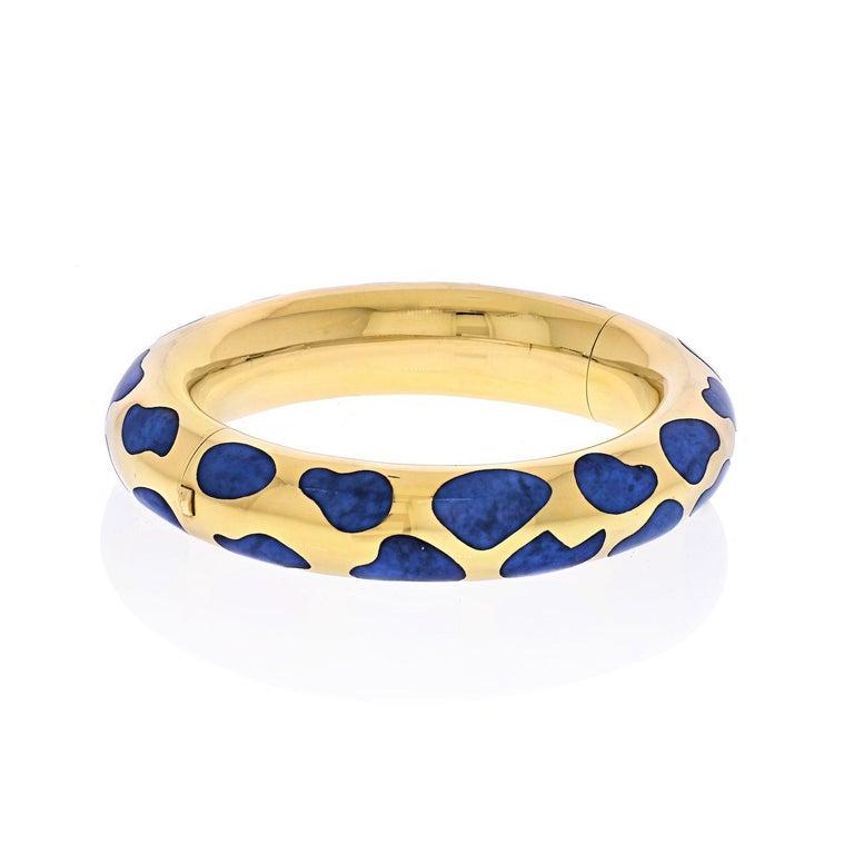 Modern Tiffany & Co. 18 Karat Yellow Gold Blue Lapis Bangle Bracelet For Sale