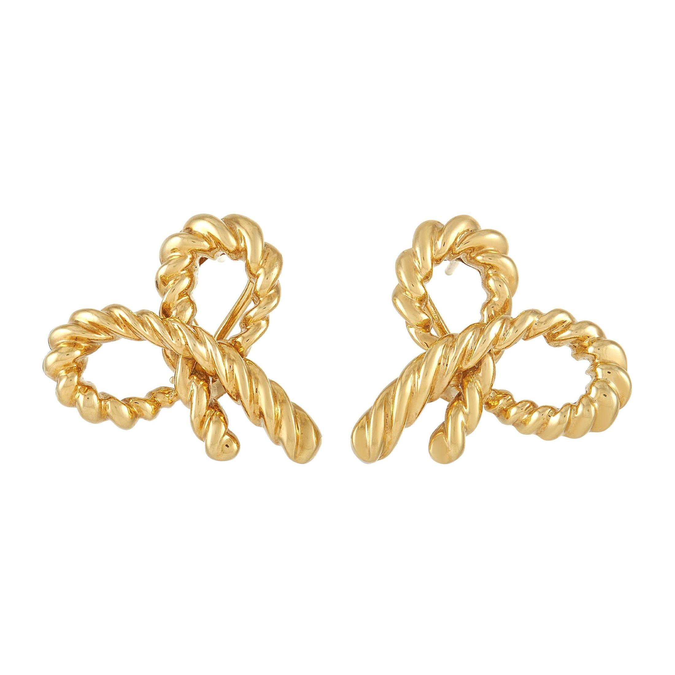 Tiffany & Co. 18k Yellow Gold Bow Earrings