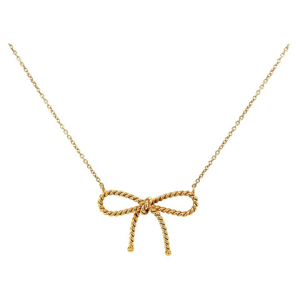 Tiffany & Co. 18K Yellow Gold Bow Necklace, Estate