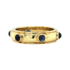 Tiffany & Co. 18K Yellow Gold Cabochon Blue Sapphire Band Ring
