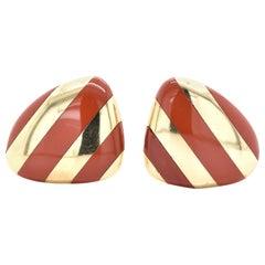 Tiffany & Co. 18 Karat Yellow Gold Carnelian Striped Earrings