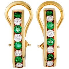 Tiffany & Co. 18 Karat Yellow Gold Diamond and Emerald Huggie Earrings