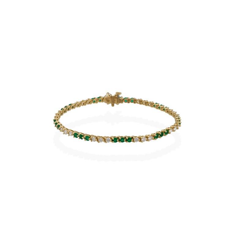 Tiffany & Co. 18 Karat Yellow Gold Diamond and Emerald Tennis Bracelet For Sale 1