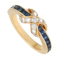 Tiffany & Co. 18K Yellow Gold Diamond and Sapphire Infinity Ring