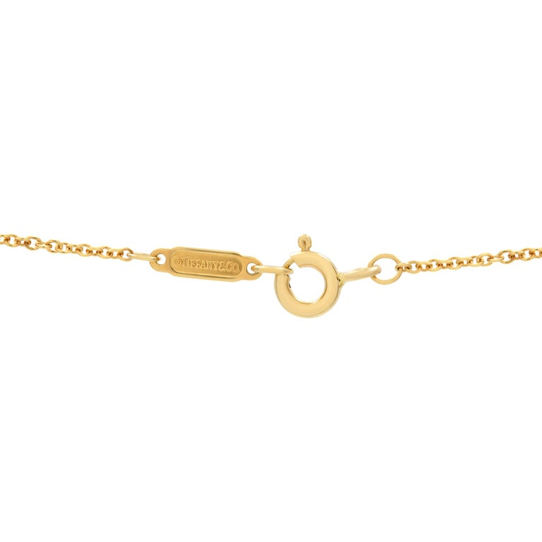 Round Cut Tiffany & Co. 18k Yellow Gold Diamond Cross Necklace 0.42cttw For Sale