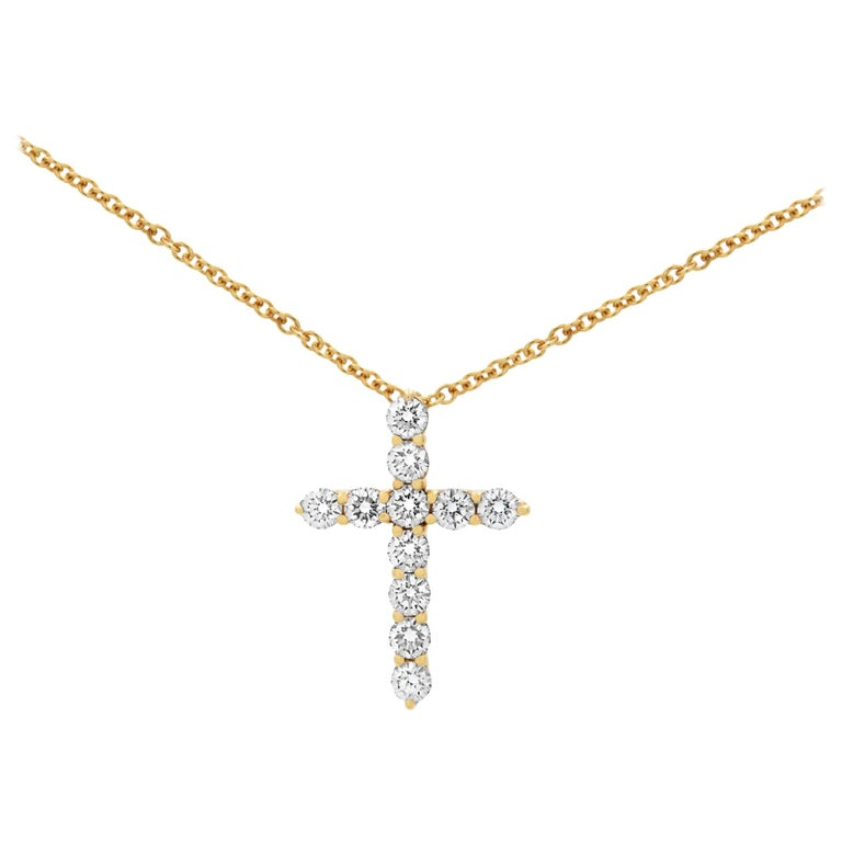 Tiffany & Co. 18k Yellow Gold Diamond Cross Necklace 0.42cttw For Sale