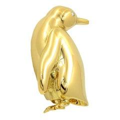 Tiffany & Co. 18k Yellow Gold Diamond Penguin Pin