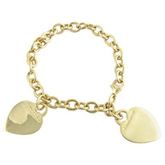 Tiffany & Co. 18 Karat Yellow Gold Double Heart Tag Charm Link Bracelet