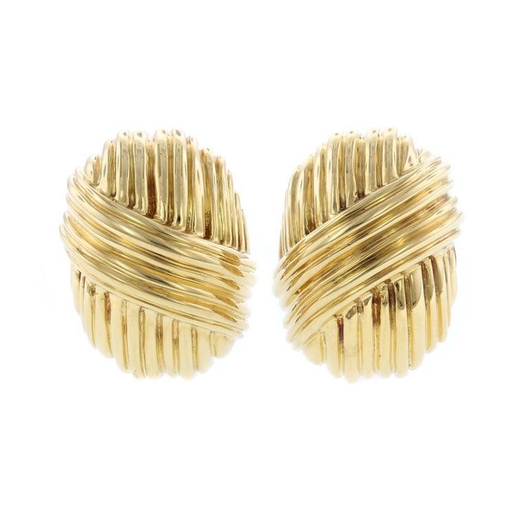 Tiffany & Co. 18 Karat Yellow Gold Earrings For Sale