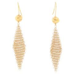 Tiffany & Co. 18K Yellow Gold Elsa Peretti Mesh Drop Dangle Earrings