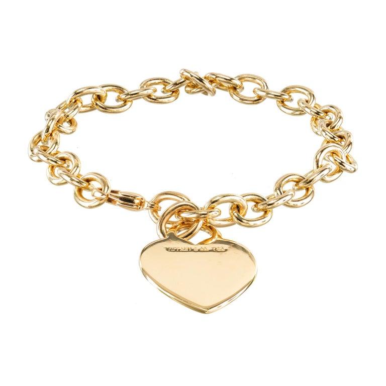 Women's Tiffany & Co. 18 Karat Yellow Gold Heart Tag Link Bracelet