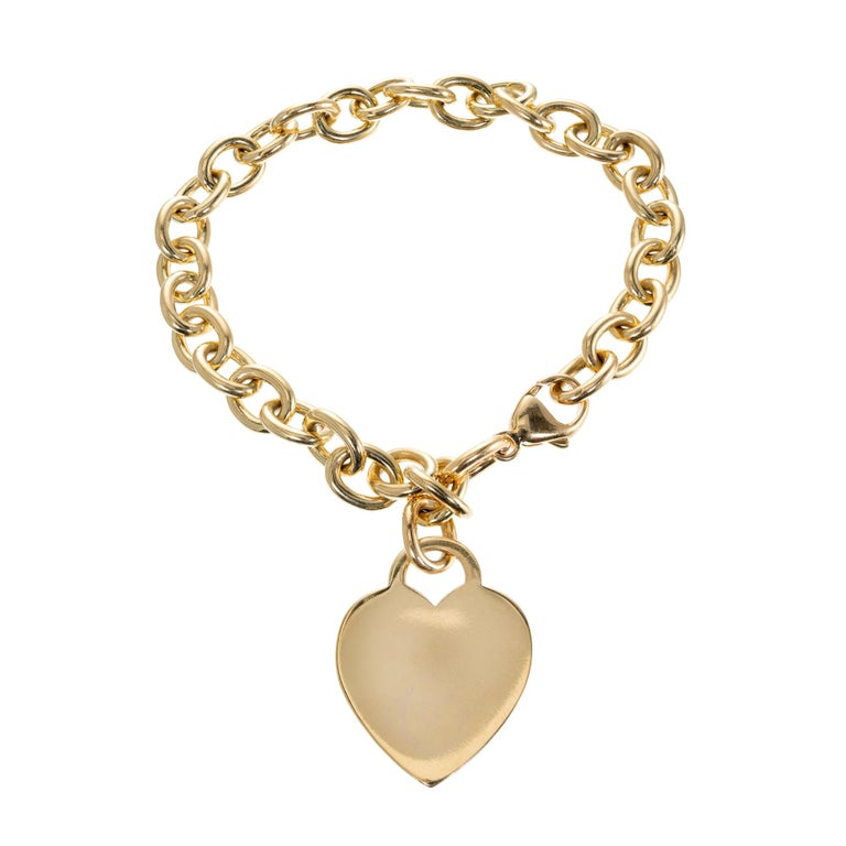 Tiffany & Co. 18 Karat Yellow Gold Heart Tag Link Bracelet 1